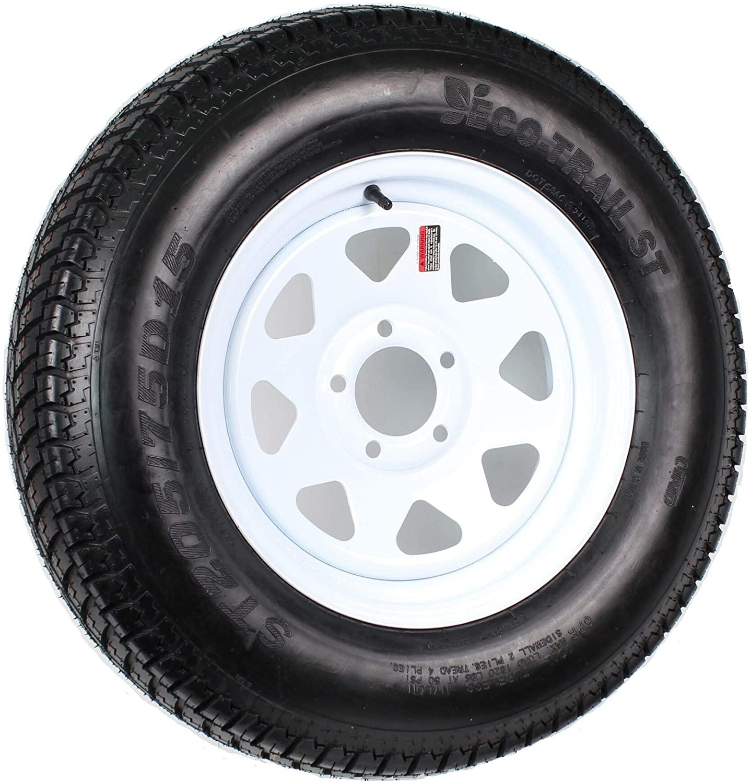 Trailer Tire On Rim Lrc 5 Lug Wheel White Spoke