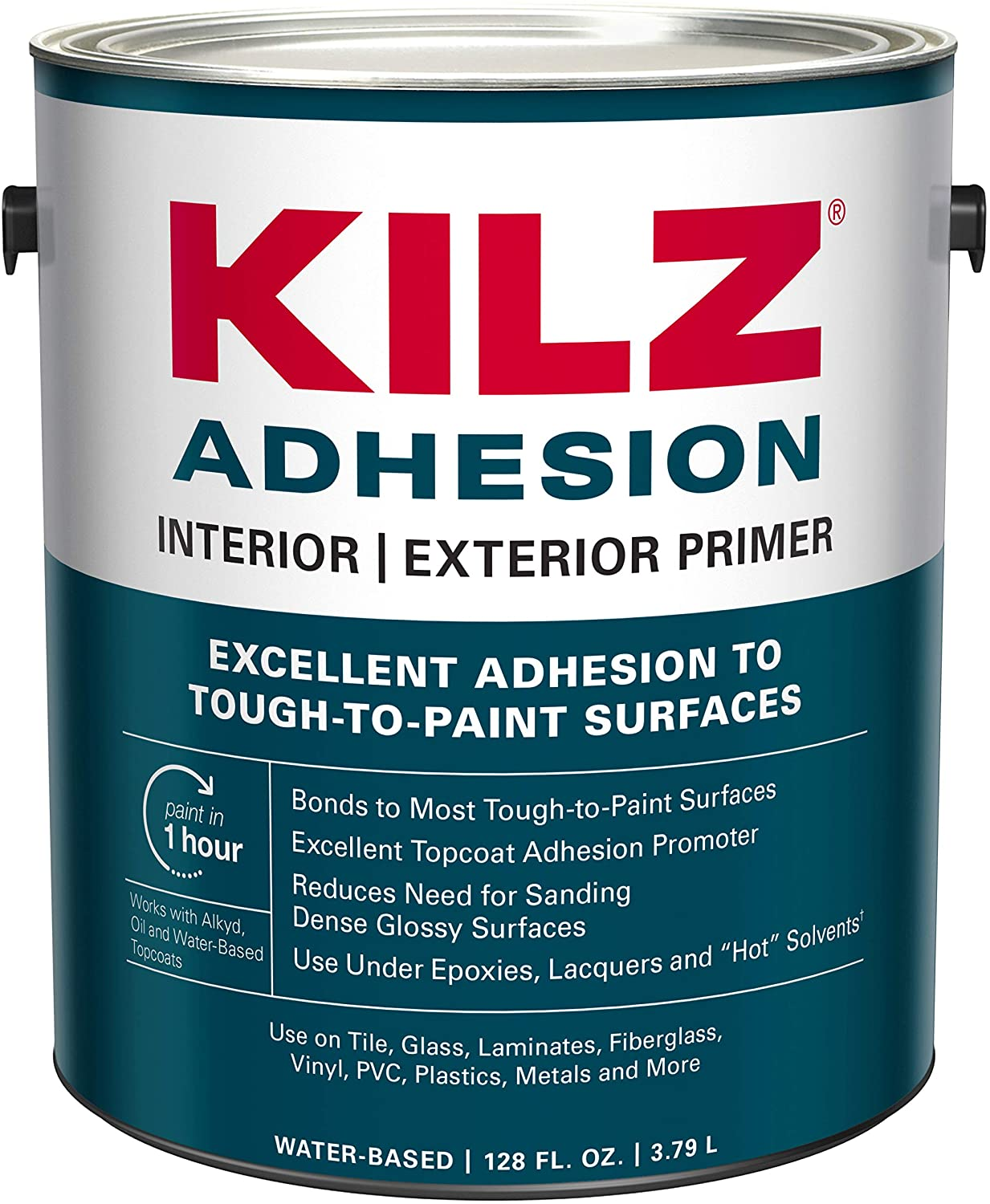 KILZ L211101 Adhesion High-Bonding Interior Latex Primer/Sealer, White, 1-Gallon, 1 Gallon, 4 l